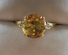 14k Gold Citrine Ring With Diamonds