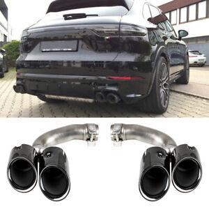 2 x Sport Auspuff Endrohre Blenden Black Chrome für Porsche Cayenne PO536 9YA