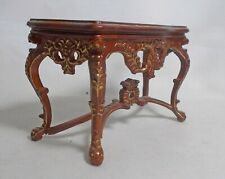 Dolls House Miniature Top Quality JiaYi Console Table in Walnut wit gold detail