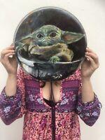 "Hand Painted Baby Yoda Grogu Mandalorian Painting On  12.5"" Recycled Drum Skin"