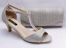Zapatos de Danza Noche Zapatos Plata Tiras Con Aptas Bolso Novia B7900