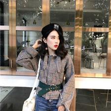 078 Korean Women's Fashion Check Belted Outwear Jacket Blazer Top