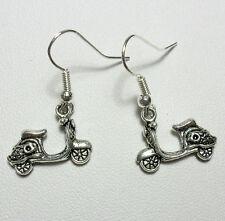 Dangle earrings - Tibetan silver style scooter/moped