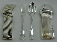Alfénide/Christofle modèle Coquille, 12 couverts de table, 24 pièces.
