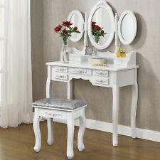 7 Cassetti 3 Specchi Toilette Trucco Sgabello Tavolo Trucco Toletta Specchio Set