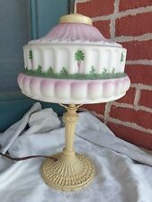 VINTAGE PLB & G PITTSBURGH BOUDOIR LAMP PINK GREEN MOLDED PAINTED GLASS SHADE
