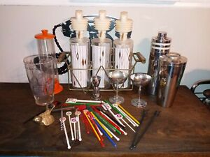 Huge Lot of Vintage Barware Chrome Stirrers Mixers Decanters Retro MCM Man Cave