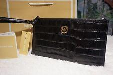 NWT MICHAEL KORS FULTON LG Zip Clutch/Wristlet Croco Embossed Leather BLACK $128