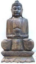 Gran Fairtrade Estatua de Buda de madera tallada a mano, Shabby Chic. Decoración de jardín