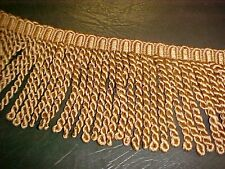 """Gold, Beige & Tan 5"""" Bullion Fringe Upholstery sew Crafts home decor VINTAGE"""