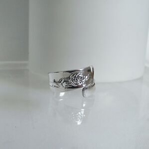 Gorgeous Detailed Handmade Vintage Floral Silver Plated Spoon Ring Unique Gift