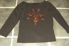LADIES COLOUR WORKS JEWELLED BEADS EMBROIDERED SEQIN BROWN ORANGE JUMPER SIZE L