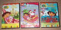 Lot of 3 DVD ~ DORA THE EXPLORER ~  DORA'S CHRISTMAS + PIRATE ADVENTURE + MORE