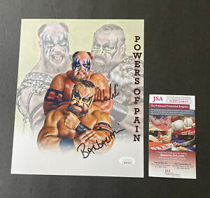The Powers Of Pain Warlord And Barbarian Signed 8x10 JSA COA WWF WWE