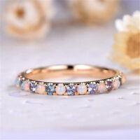 Gold Tone Women Crystal Rhinestone Fire Opal Gem Ring Women Jewelry WE