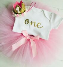 Luxury Girls 1st First Birthday Pink Tutu Skirt Outfit Cake Smash Gold Crown One
