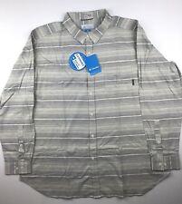 Columbia Mens Big 4XL Cooper Lake Gray Beige Stripe Long Sleeve Button Shirt $60
