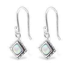 TJS 925 Sterling Silver Earrings Hook Antique Square Dangle Fire Snow Opal