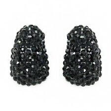 LOVELY BRAND NEW GENUINE BLACK AUSTRIAN PAVE CRYSTAL CLIP-ON EARRINGS