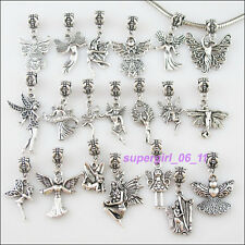 20Pc Tibetan Silver Angel Connector Charm European Bail Beads Fit Bracelet Mixed