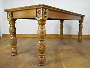 Antique carved long console table - library table