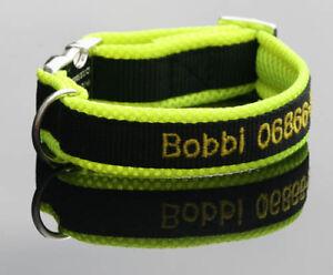 Halsband gelb schwarz bestickt mit Name Telefonnummer Hundehalsband