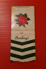 """RARE VINTAGE 1930-60's """"DUNLAVY'S"""" * ADVERTISING MATCH BOOK COVER"""