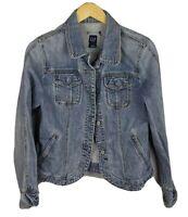 GAP Women's Blue Long Sleeve Denim Button Up Jean Jacket Size: Medium