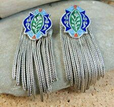 """Vintage Cloisonne Enamel Chain Dangles 900 European Silver 2"""" Post Earrings #224"""