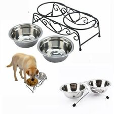 Pet Dog Cat Water Food Bowl Iron Stand Stainless Steel Double Dish Puppy Feeder
