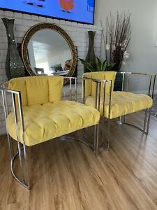 Pair of 70s Chrome Deco Style Chairs by Milo Baughman