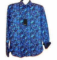 Bugatchi Men's Blue Bright Navy Plaids Cotton Botton Up Shirt Sz L Shaped Fit