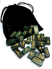 Jade Rune Set Crystal Nephrite Gemstone Divination & Plush Black Pouch