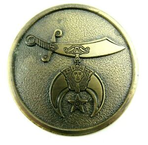 VINTAGE Brass Belt Buckle Shriner Masonic Temple 1984 W. H. Christison Potentate