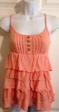 Peach Pink Ruffled Tiered Knit & Lace Top Blouse Shirt Small Casual Beach Club