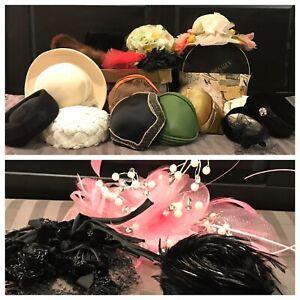 Huge 20 Piece Womens Vintage Hat Lot Fur Straw Flower Wool Velvet Rhinestone
