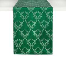 "Lenox Chelsea Christmas Green Laurel Wreath Fabric Table Runner 14"" x 70"""