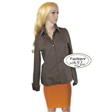 Washed Optik Stretch Casual Büro Business TAILLIERTE Bluse Umschlagarm Gr.34 XS