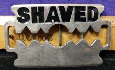 """Fun Vintage Belt Buckle """"Shaved"""" novelty, Depicting Razor blade shape (C3-C5-C)"""