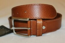 Made In Italy Men's Cognac Stitch Edge Genuine Leather Casual Belt NWT Size 38