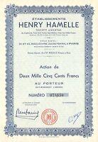 Etablissements Henry Hamelle SA, accion (Siege: Paris)