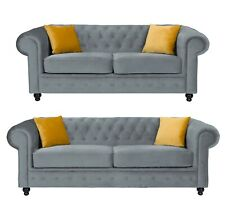 Chesterfield Style Hilton Sofa Grey French Velvet 3+2 Seater Sofa Set
