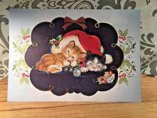 Vintage 60's-70's Kittens Kitties Mouse Sleeping Christmas Card New W/ Envelope