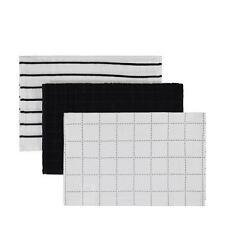 Set of 3 Urban Chic Tea Towels Coral Blue Yellow & White Cotton 45cm X 60cm