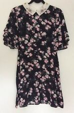 Topshop Black Woodland Floral Print Midi Dress UK Size 10 Immaculate