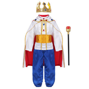 7PCS Kids Boys Medieval King Costume Outfit Tops+Pants Belt Cape Headband Socks