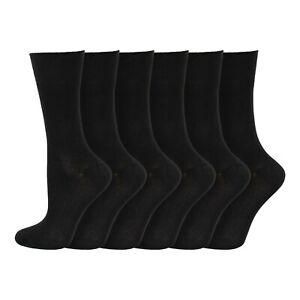 Ladies Super Soft BAMBOO -  No Elastic Loose Top Anti Sweat Socks 4-7 Uk - Black