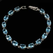 Oval London Blue Topaz 8x6mm 14K White Gold Plate 925 Sterling Silver Bracelet