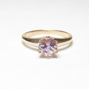 Estate 14K Yellow Gold 0.90 Ct Natural Lavender Purple Amethyst Solitaire Ring
