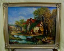 """Antique Unsigned Gold Framed English Farm Landscape Oil Painting 35""""x 29"""""""